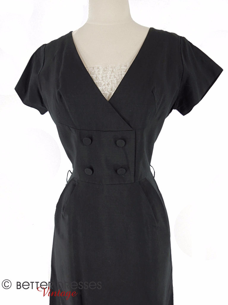 50s LBD With Ruffled Dickey - closeup