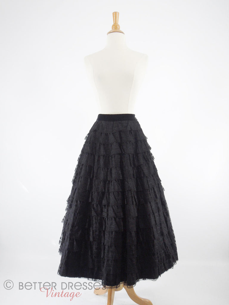 40s/50s Black Lace Full Skirt - front with crinoline