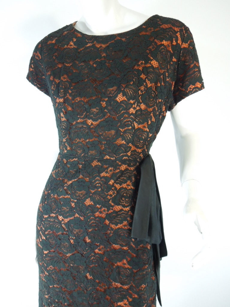 50s/60s Black Lace Over Orange Wiggle Dress