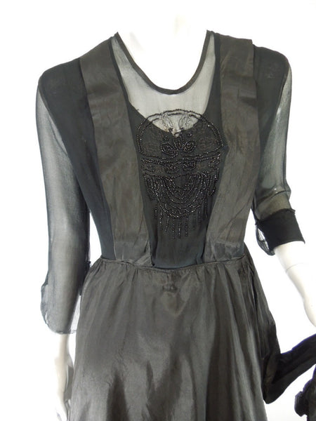 Vintage Antique 1916 Black Beaded Silk Dress by Franklin & Simon at Better Dresses Vintage. close