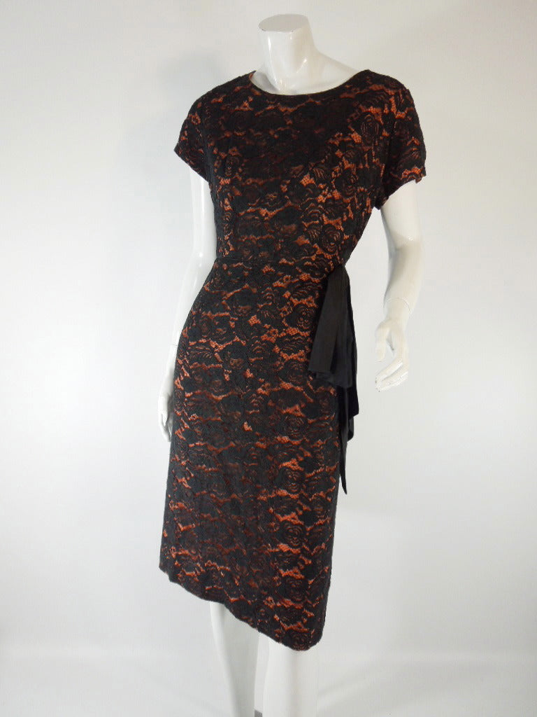 50s/60s Black Lace Over Orange Wiggle Dress - med, lg