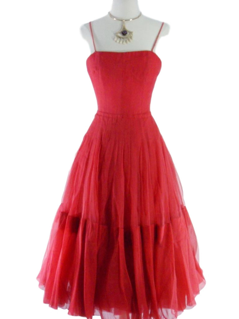 40s Red Silk Chiffon Party Dress