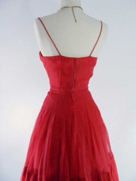 40s Red Silk Chiffon Party Dress - back view