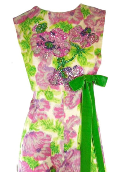 60s Fuchsia and Green Beaded Gown - med