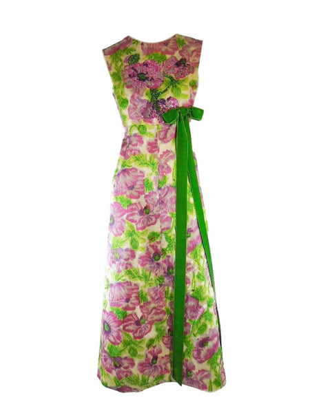 60s Beaded Gown | Fuchsia Green maxi