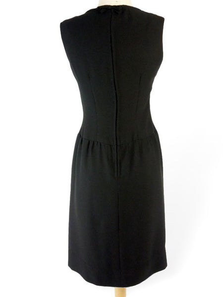 back view of vintage black cocktail dress