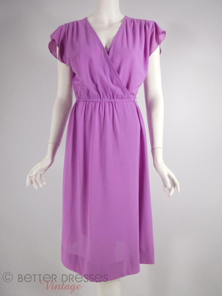 70s Purple Cross-Front Dress - front view