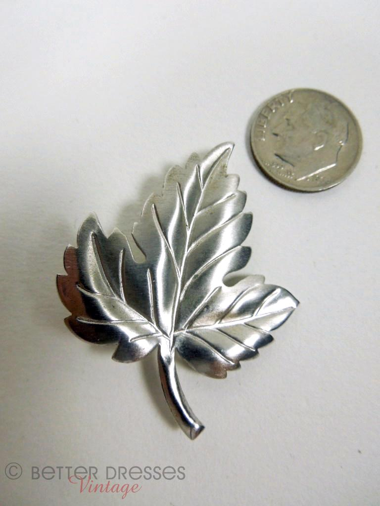 Vintage 60s 70s Tiffany Amp Co Sterling Silver Leaf Brooch