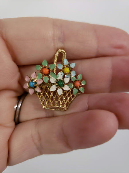 Vintage Flower Basket Enameled Brooch