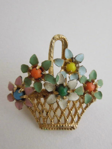 Vintage Brooch Enameled Filigree Flower Basket