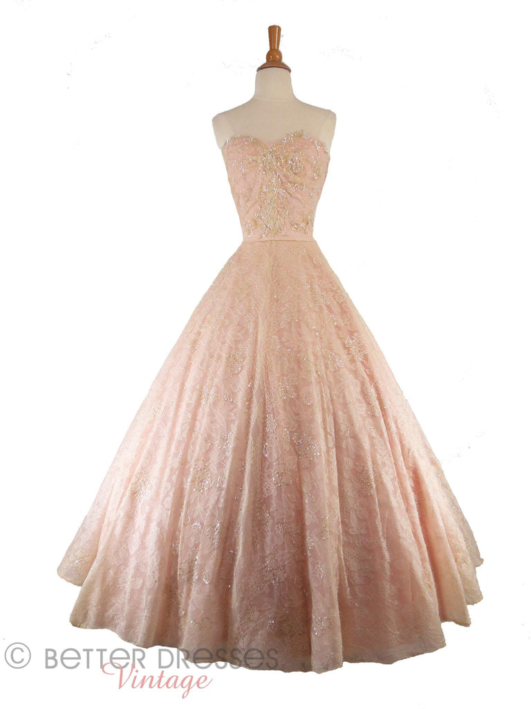 40s/50s Pink Chantilly Ball Gown - on white with hoop