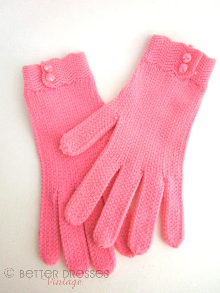Vintage 50s/60s Pink Nylon Knit Gloves at Better Dresses Vintage