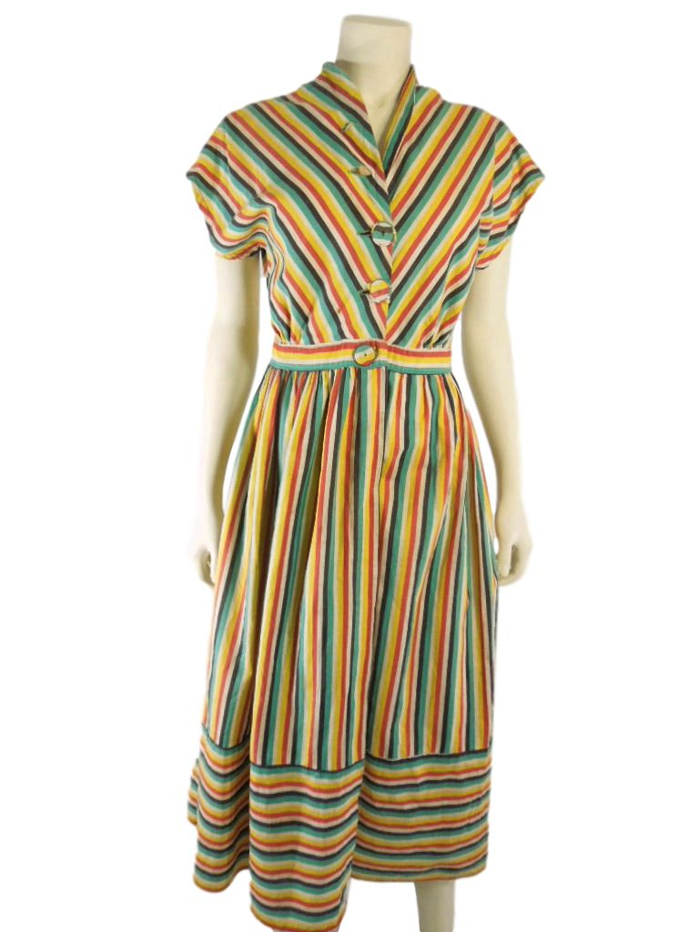 50s Bright Stripe Cotton Wrap Dress