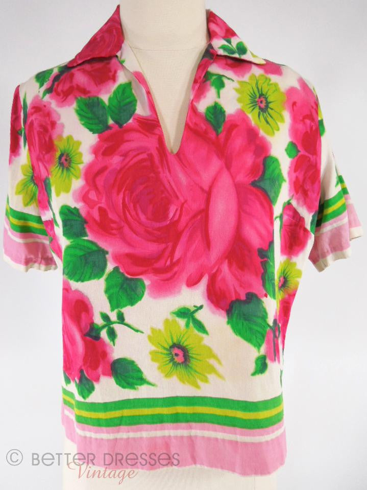60s Cotton Top With Roses