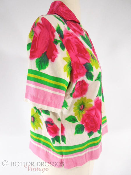 60s Cotton Top With Roses - side