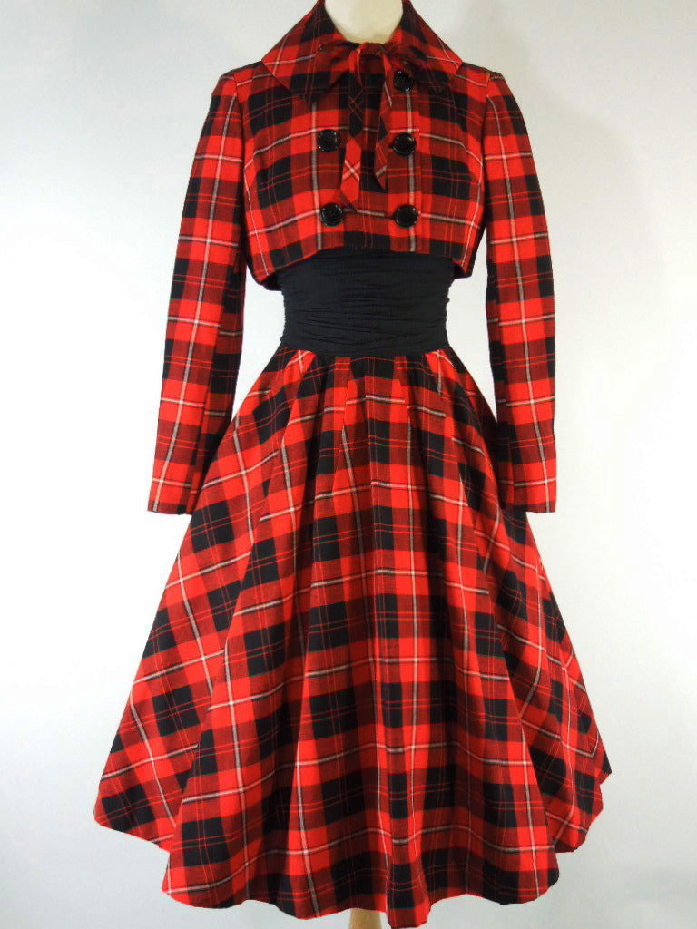 50s Red Plaid Dress & Jacket Mam'selle by Betty Carol