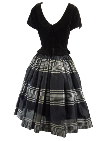 1940s 1950s new Look Black Velvet and Metallic Dress