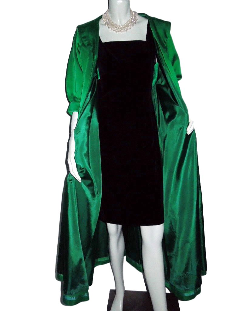 50s Green Satin Opera Coat