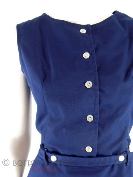 60s Navy Blue Dress + Jacket Set - bodice close