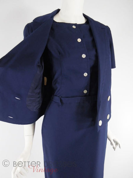 60s Navy Blue Dress + Jacket Set - jacket held open