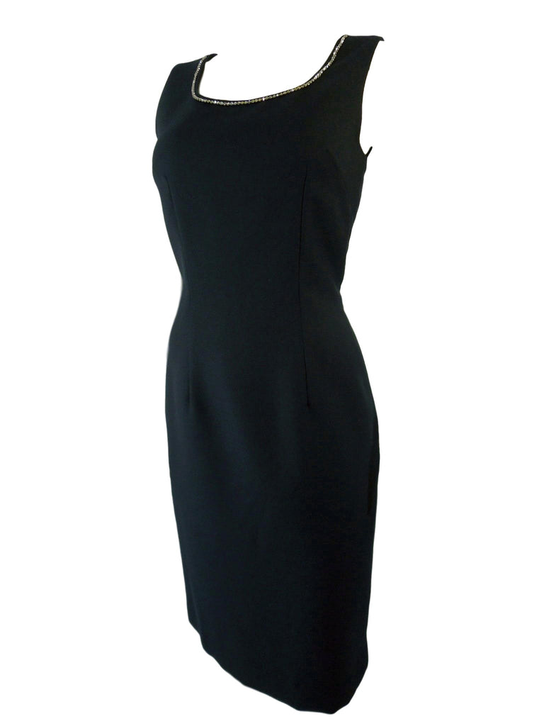 50s/60s Black Dress With Rhinestone Neckline