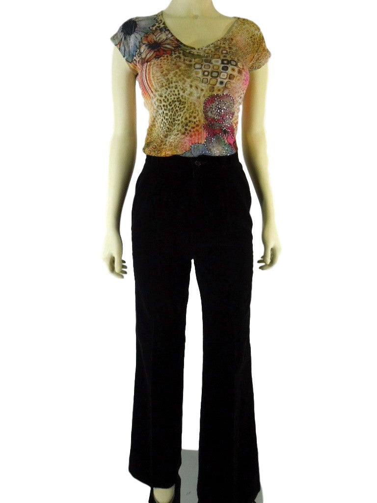 70s Black Velvet High Waist Trousers