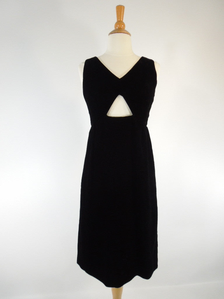 60s Velvet Little Black Dress Sexy Cut-Out at Bust - sm
