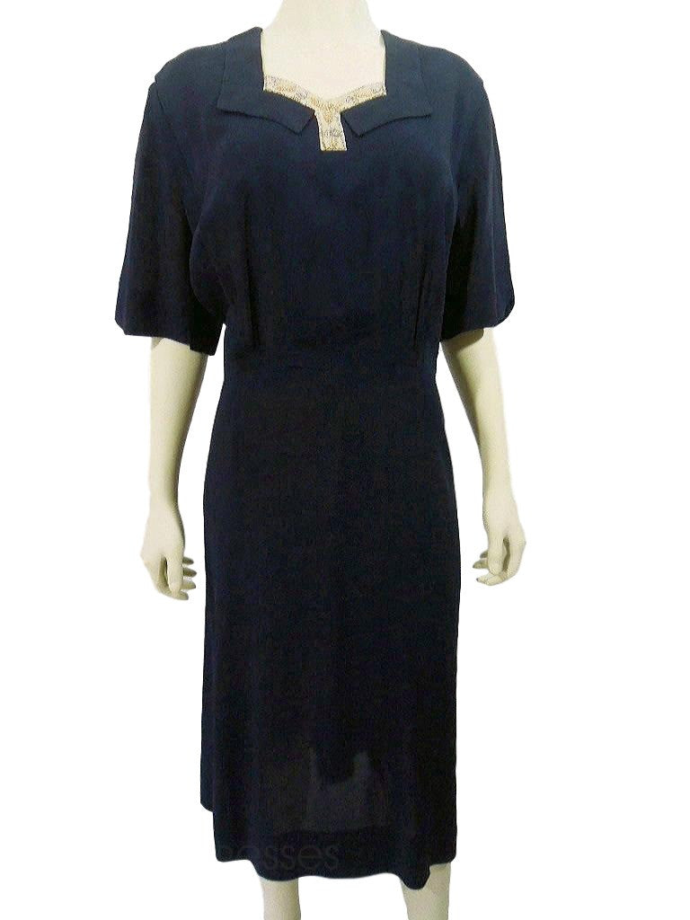 40s Navy Blue Rayon Day Dress - front