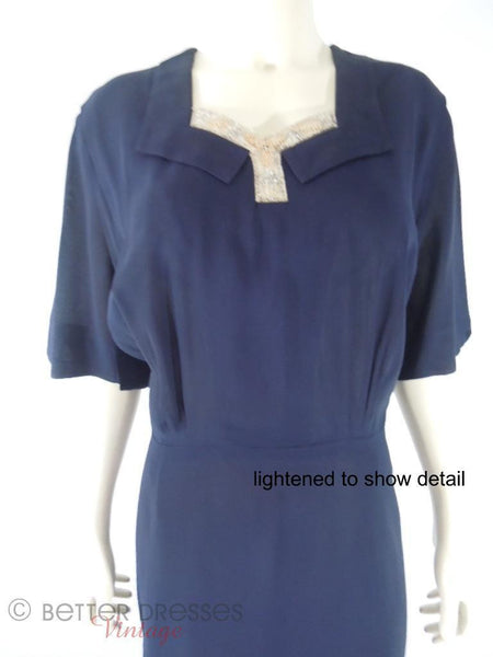 1940s Navy Rayon Crepe Dress by Herbert Levy at Better Dresses Vintage. Close view, lightened.
