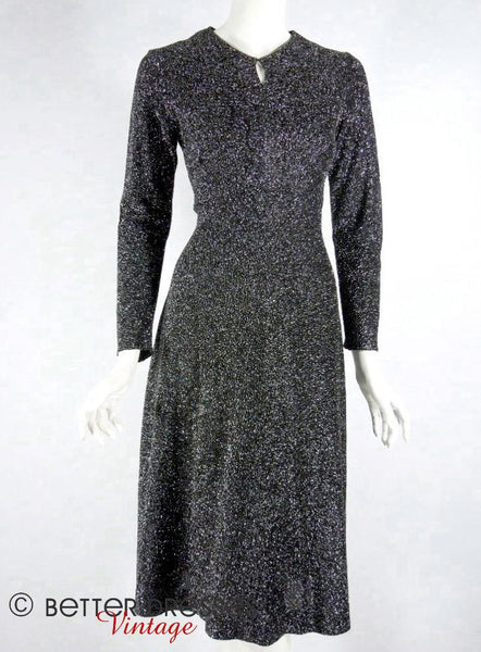 50s Metallic Long Sleeve Dress