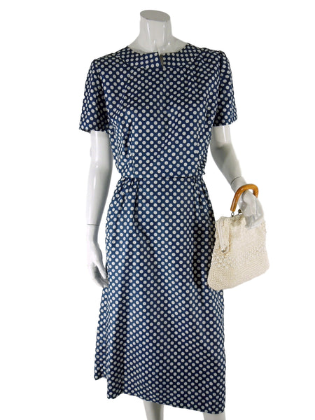 Silky Navy Polka Dot Day Dress