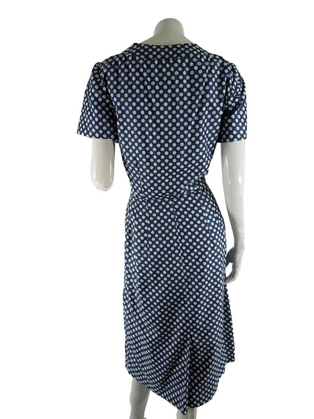 Navy Polka Dot Dress - Back