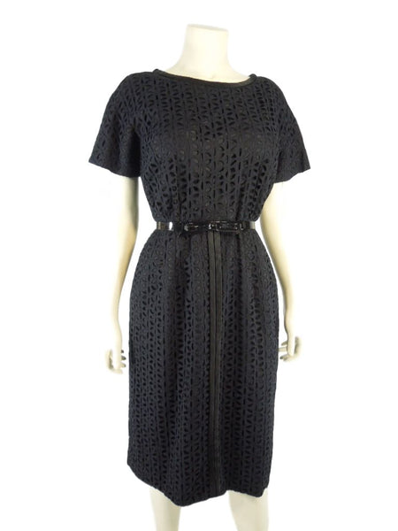 50s Black Eyelet Sheath Dress
