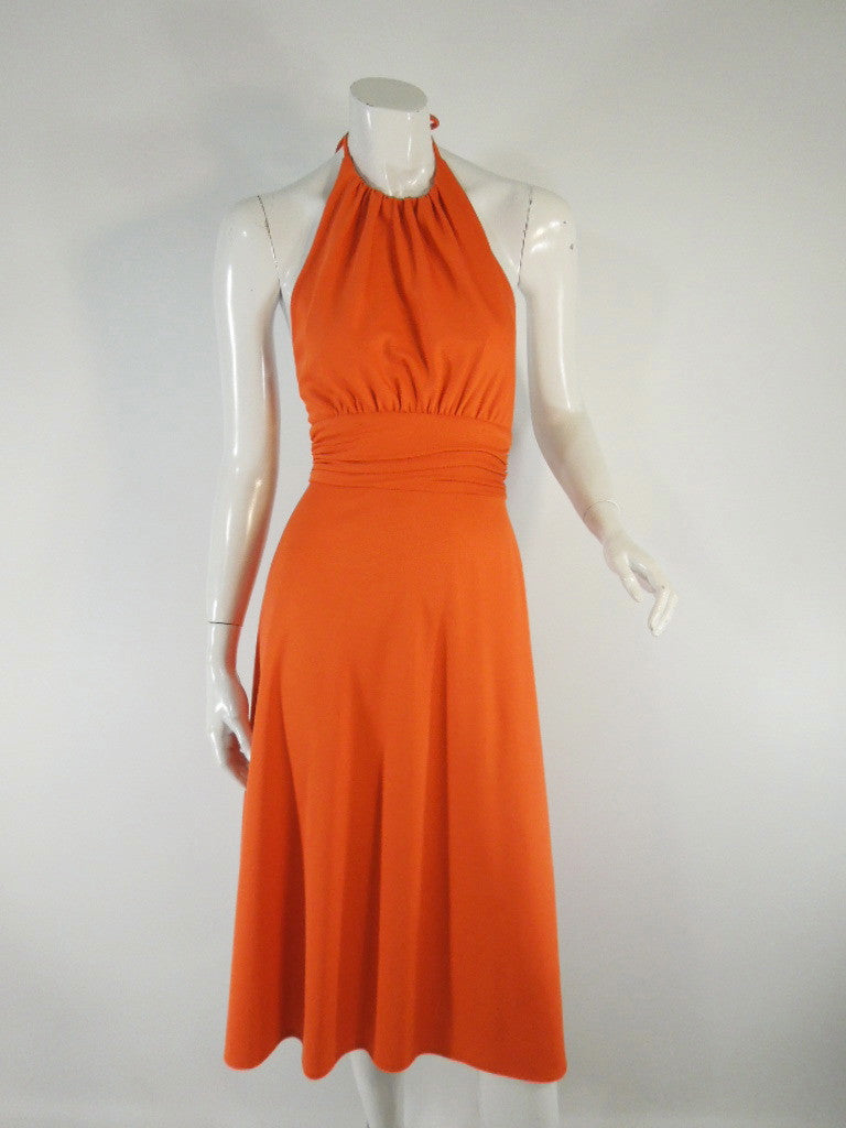 Vintage 70s Lorrie Deb halter disco dress at Better Dresses Vintage.