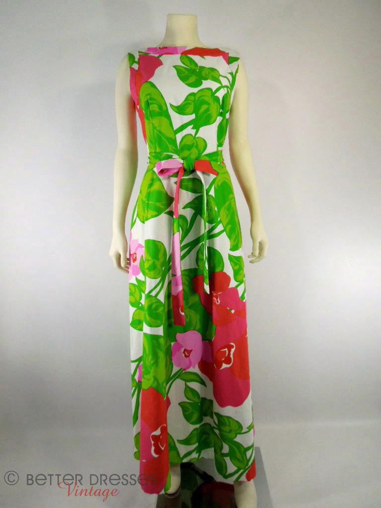 60s/70s Hawaiian Maxi Dress by Malia Honolulu - med