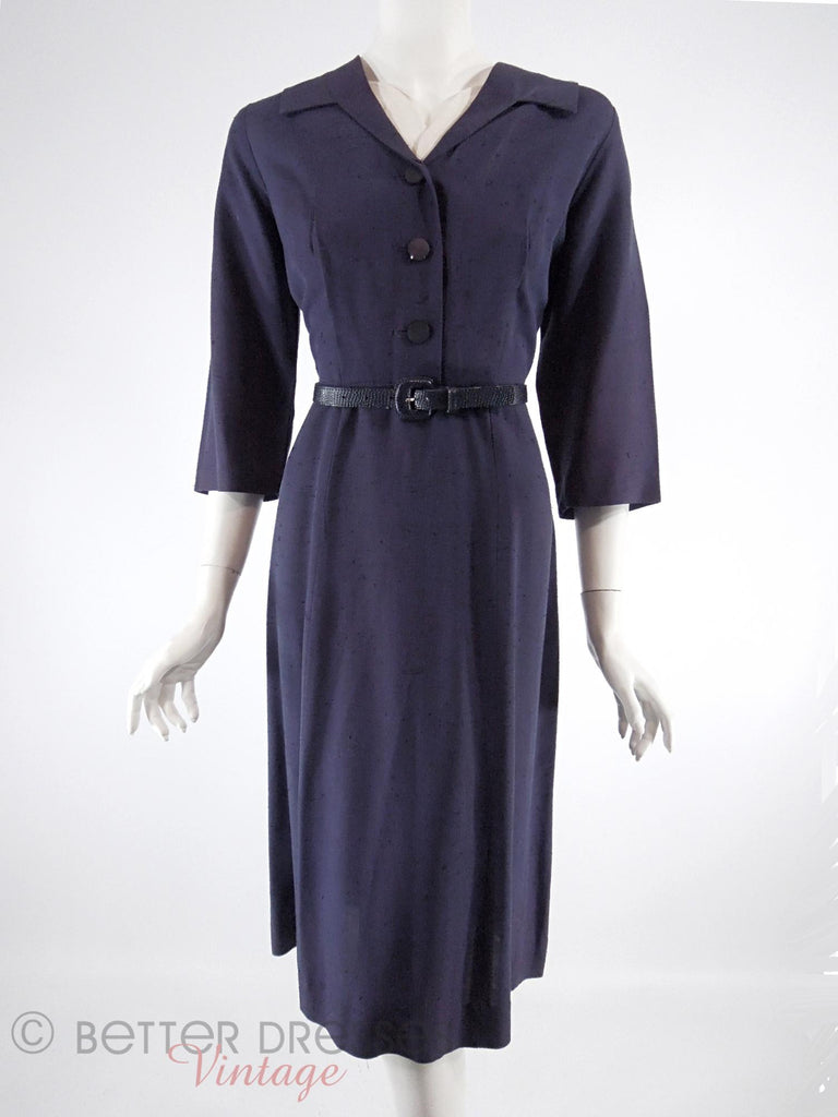 50s Navy Blue Day Dress - with our belt