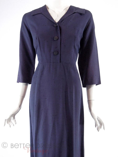 50s Navy Blue Day Dress - front view