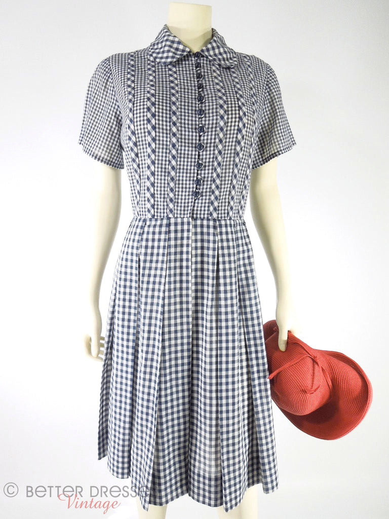 50/60s Navy Gingham Shirtwaist Day Dress at Better Dresses Vintage
