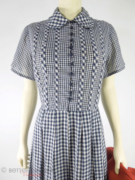 50s/60s Navy Gingham Shirtwaist Day Dress - med, lg