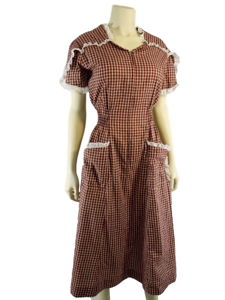 Vintage 40s 50s Princess Peggy Day Dress House Dress Brown ...
