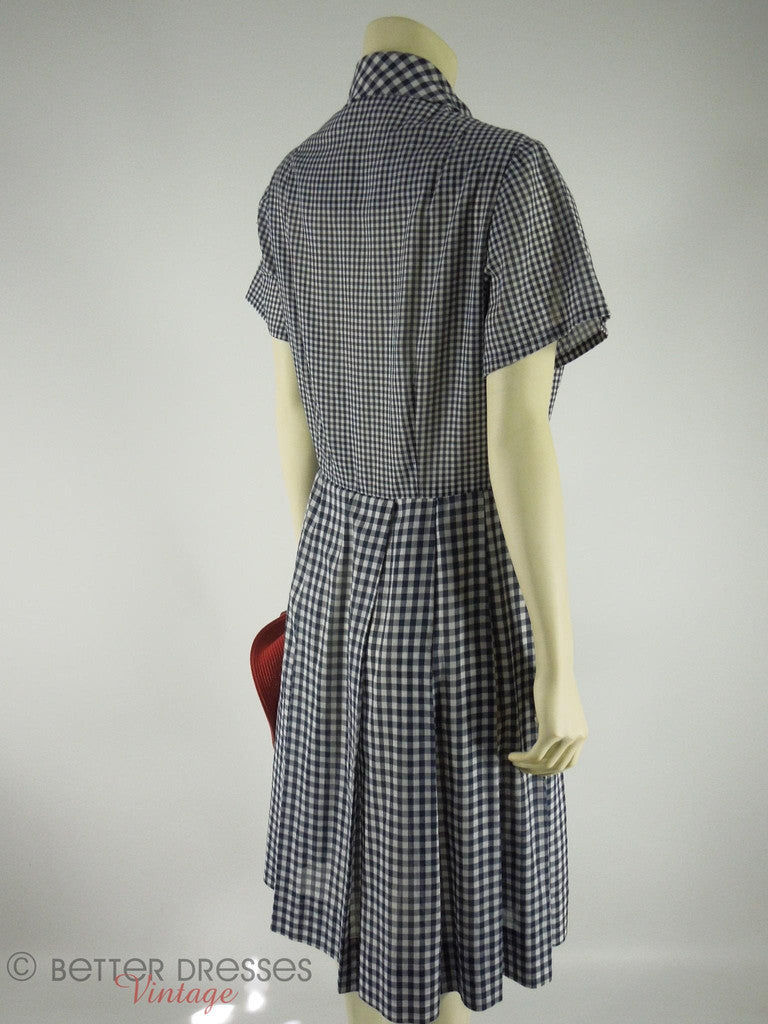 d58710be115 ... Dress Henry-Lee Navy Gingham Shirtwaist at Better Dresses Vintage. back  angle view ...