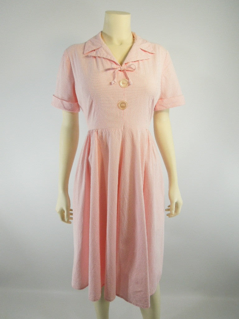 50s/60s Pink Seersucker Day Dress - med, lg