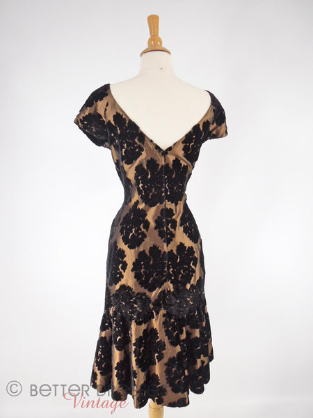 50s Black Velvet on Bronze Sheath - back