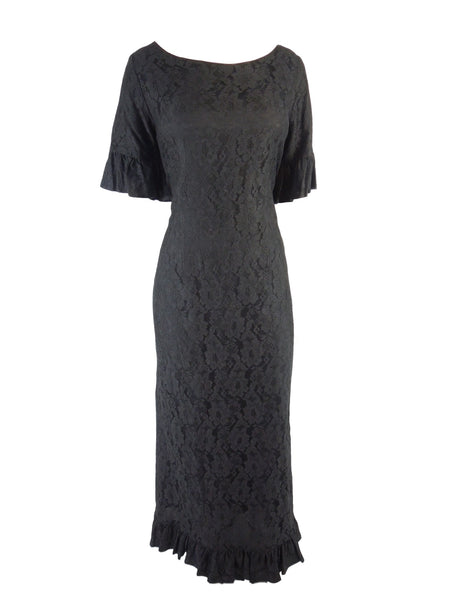 50s Black Lace Hawaiian Gown - front