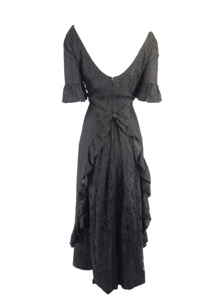 50s Black Lace Hawaiian Gown - back