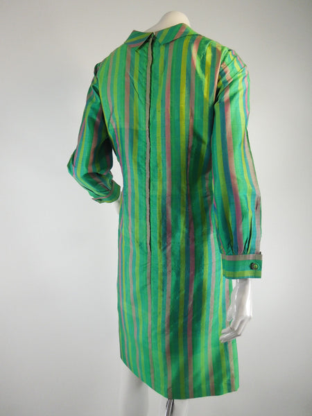 Vintage 60s Thai silk green stripe shift dress at Better Dresses Vintage. back view