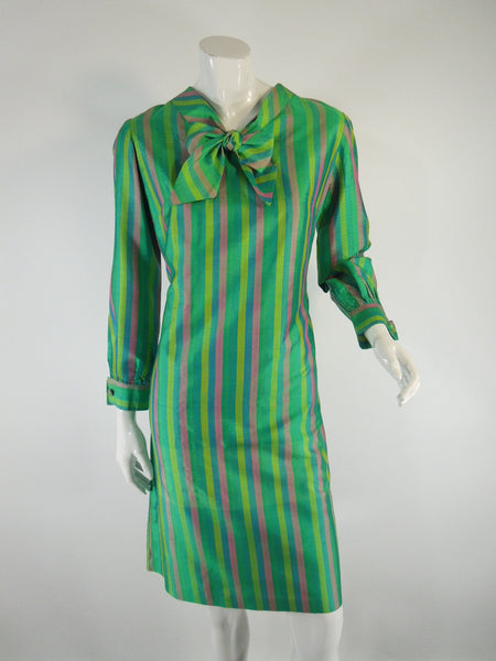 60s Thai Silk Striped Shift - med, lg
