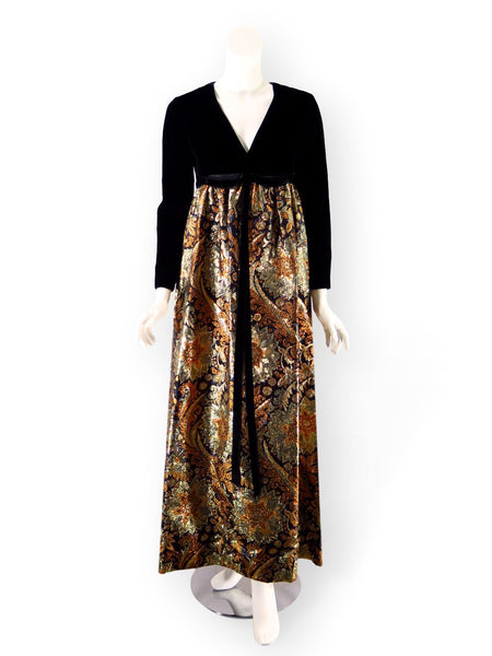 60s maxi dress in velvet and metallic brocade