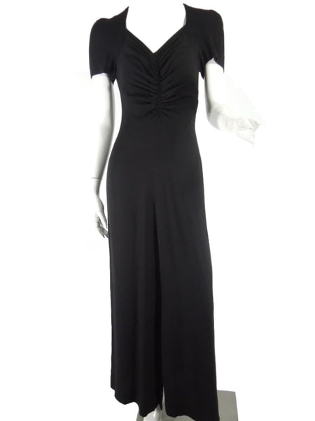 40s Black Rayon Short Sleeve Gown