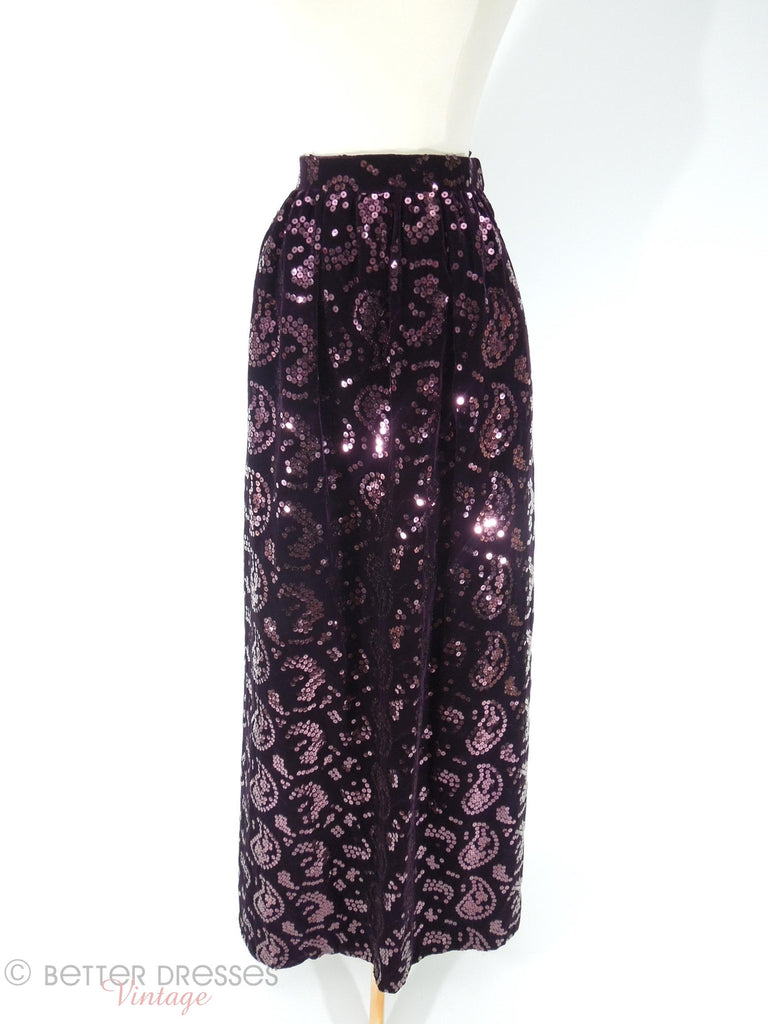 70s or 80s Oscar de la Renta deep plum velvet skirt with sequined paisleys at Better Dresses Vintage. View from above.